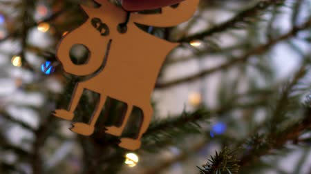 alce : slow motion close view woman hands hang wooden toy moose on thin christmas tree branch against flashing garland