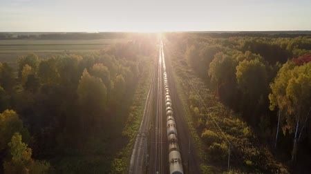 goederentrein : amazing upper view long cargo train with cisterns drives through wood near field against bright sunset Stockvideo