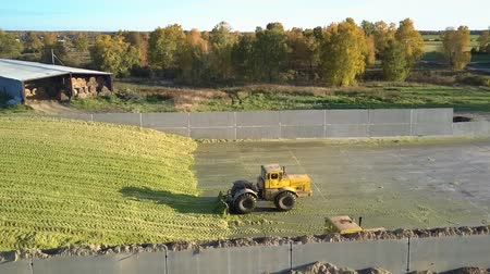 rammen : aerial view bulldozers rake up harvested silage on large pit heap by hangar for agricultural machinery against trees Stockvideo
