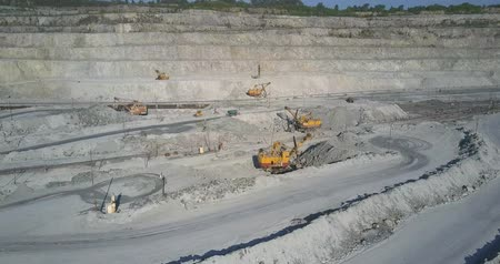pedreira : aerial motion above powerful mining machines on plate in huge asbestos quarry with railway