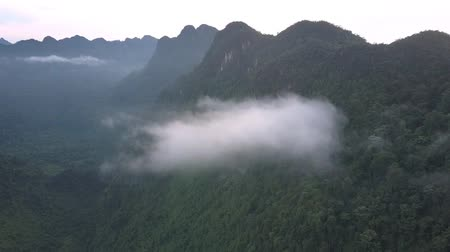 preso : aerial motion to fluffy cloud hanging on mountain chain with green thick tropical forest under foggy sky bird eye view