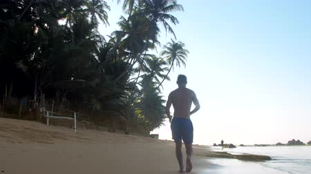 ağaç gövdesi : muscular gymnast runs on wet sand near endless ocean and green palm trees on summer day slow motion backside view low angle shot. Concept sports Stok Video