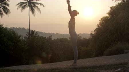 saudação : athletic girl raises hands up doing hatha yoga exercises near palms and tropical plants against red sunrise light slow motion. Concept fitness yoga wellness lifestyle