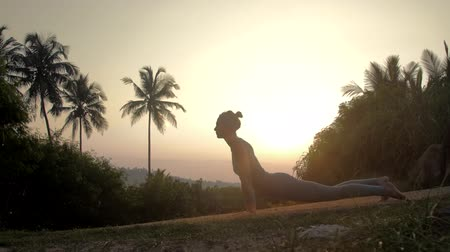 saudação : slim girl in tracksuit stands in urdhva mukha shvanasana doing sun salutation yoga in early morning side view slow motion. Concept fitness yoga wellness lifestyle