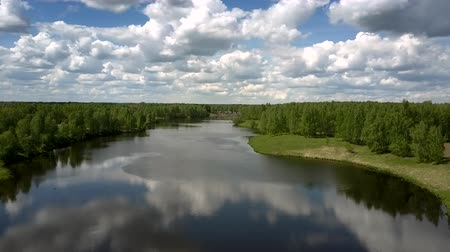 лесное хозяйство : exciting blue river at green dense forests against distant driving freight train on summer day upper view. Concept unspoiled nature