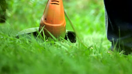 mow : modern orange trimmer mows green grass in garden extreme slow motion. Concept outdoor housework