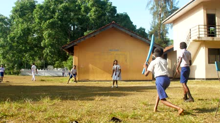 játék : ColomboSRI LANKA - APRIL 05 2019: Schoolboys in blue shorts and white shirts play cricket on schoolyard in autumn slow motion. Concept sport and healthy lifestyle on April 05 in Colombo Stock mozgókép