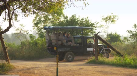 utilidade : black sport utility vehicle with group of tourists drives along brown ground road in national park slow motion. Concept active leisure