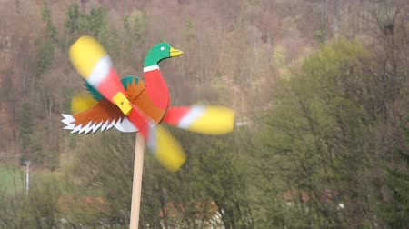 west wing : Wooden Duck as colorful weather vane in the wind Stock Footage