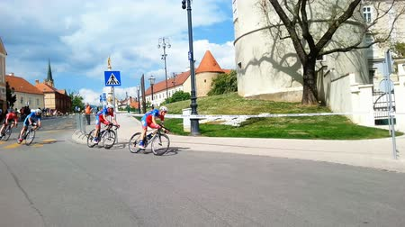 hırvatistan : Zagreb, Croatia - April 26, 2015: The final stage of cycling race Tour of Croatia in downtown Zagreb.