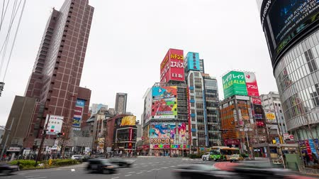vdo : shinjuku, Tokyo, Japan- February 6, 2019: 4K time lapse video of urban street at the business town. Shinjuku-ward