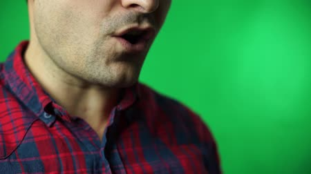 lips of man talk green screen background