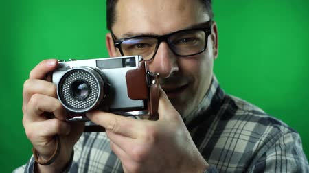 Photographer - Young Man -Retro Shooting green screen background