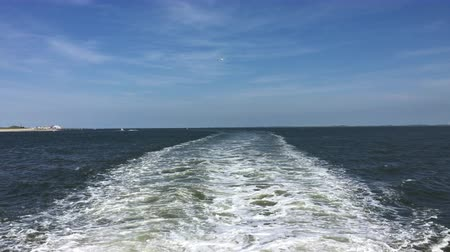 Wake behind ferry on its way from Norderney to Norddeich in East Frisia (East Frisia), Germany followed by seagulls. Sunshine and blue sky.