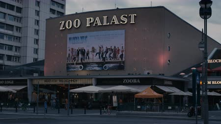 breitscheidplatz : Berlin, Germany - July 13, 2018: Famous Film Theatre  Cinema Zoo Palast before Evening Sky in 4K