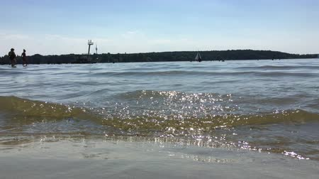 CloseUp of Water and Waves on a Hot Summer Day at Wannsee Bath in Berlin Filmati Stock