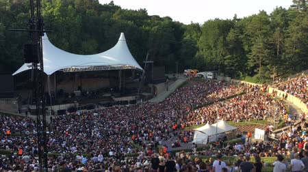 naživu : BERLIN - JULY 5, 2018: people in sold-out forest stage waiting for open Air Rock Concert to start (Pearl Jam)