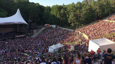 satılır : BERLIN - JULY 5, 2018: People performing the La Ola wave in the sold-out Waldbuehne before a Pearl at the Jam Rock Concert in Berlin - open air Stok Video