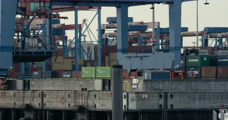 amburgo : HAMBURG, AUGUST 2013: Gantry Cranes  Container Cranes moving in the busy port of Hamburg, sorting containers for being shipped. Shot on Red.