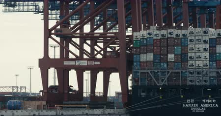 HAMBURG, AUG 2013: A large shipping container is being unloaded off a Cargo Ship  Freighter by a Container Crane (Gantry Crane). Shot on Red. Stock mozgókép