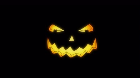 Scary Glowing Halloween Pumpkin Eyes and Mouth on Black. Mouth Starts Laughter (Animation) - Spooky Cartoon Style. Stock mozgókép