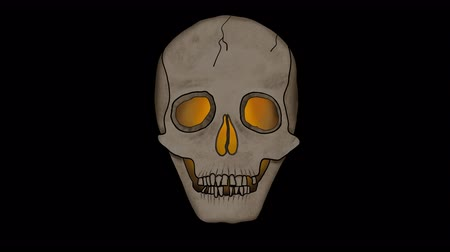 scull : Spooky Skull Animation with flickering lights inside - Loop  looping is possible