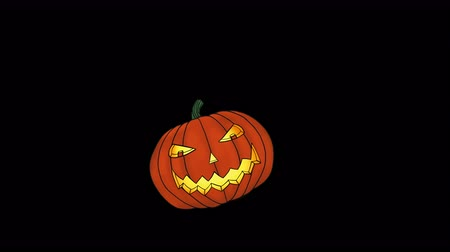 Animation of a Spooky Halloween Pumpkin (Jack o Lantern) flying towards camera, resting in the middle of the screen and then flying into camera