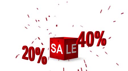 pricetag : Sale discount cube. Loop Animation, 3d.