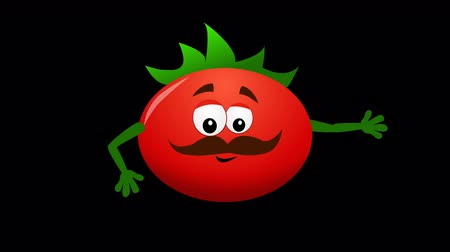 molho de tomate : Tomato cartoon character waving hand. Animation loop 4K Stock Footage