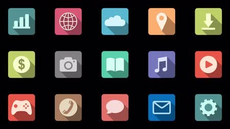 programa : Set of 15 colored icons with oblique shadows. Mobile apps. Alpha channel Vídeos