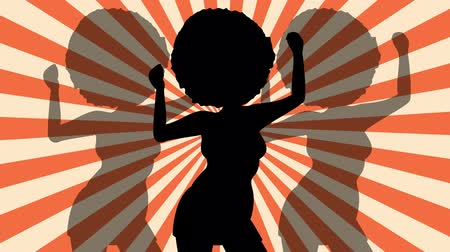 striptérka : Dancing Silhouette afro woman. Retro rays. Disco. Flat loop animation.