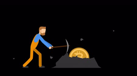 капелька : Bitcoin mining flat animation. Alpha channel. 4K
