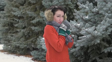 wełna : Woman is posing in winter forest, beautiful landscape with snowy fir trees