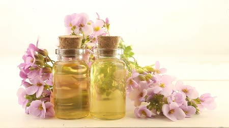 essence of flowers : essential oil in beautiful jar on white background