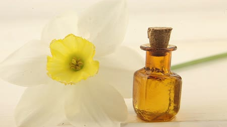 żonkile : Essence of flowers on white in beautiful glass jar