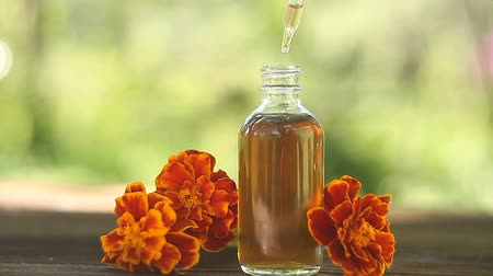 ароматерапия : marigold essential oil in a beautiful bottle on table Стоковые видеозаписи