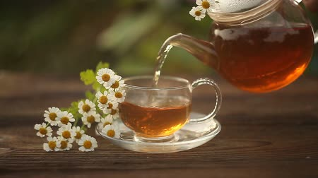 основа : green tea with chamomile in cup
