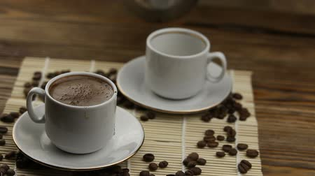 americano : coffee in coffee cup with natural grains