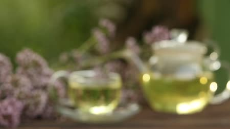 oregano : Crystal cup with green tea on table