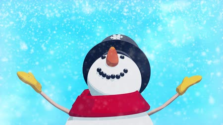 kardan adam : Snowman in Christmas spirits looking at the winter snow. HD video animation. Stok Video