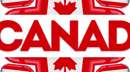 kaleidoskop : Canada Day Animation Video. Happy Canada Day Text auf kanadischer Ahornblatt Hintergrund.