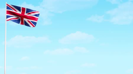 büyük britanya : British flag on sky background animation HD video.