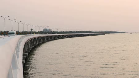 Curved Concrete Bridge over the sea at Ang Sila Chonburi, Thailand