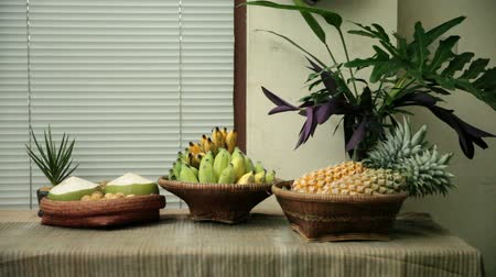 Tasty and healthy fruits on table, Backgrounds Stock Footage