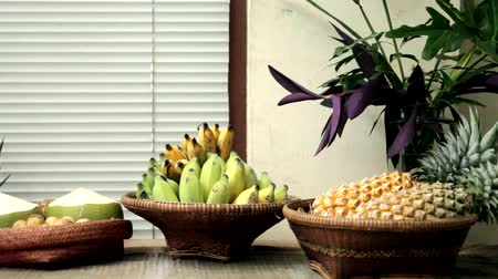 Tasty and healthy fruits on table, Backgrounds Dostupné videozáznamy