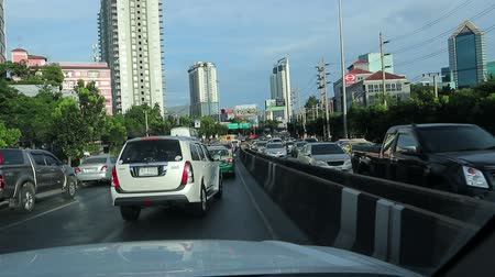 Traffic moves busy on Ratchada road Bangkok Thailand, ‎November ‎07, 2018 Stock Footage