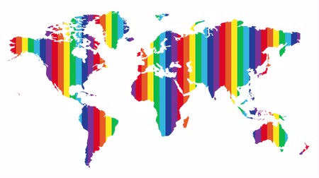 stylised : continental world map with a rainbow. LGBT rights all over the world. Stock Footage