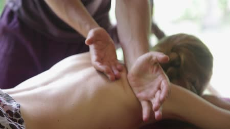 High definition footage. Close-up of male hands doing massage.