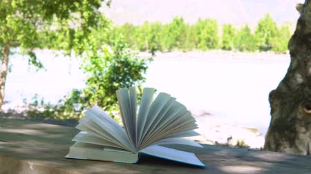 anlamı : The wind flutters the pages of the book left on the table in nature.