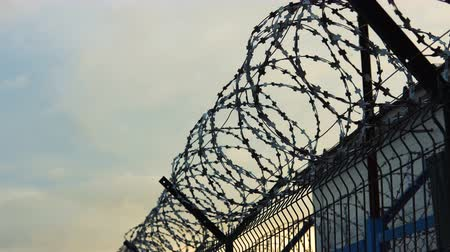farpado : The barbed wire of the correctional facility on the background of a gloomy cloudy sky. Stock Footage